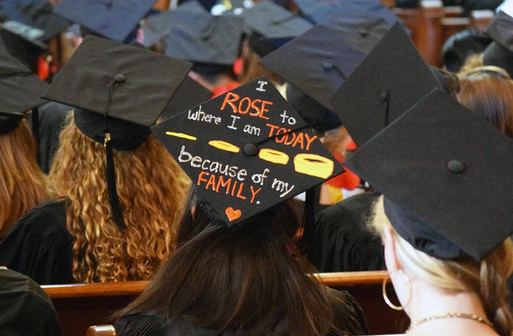 Graduating students often decorate their mortar boards during graduation with messages of thanks to family members.