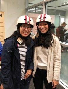 students wearing helmets