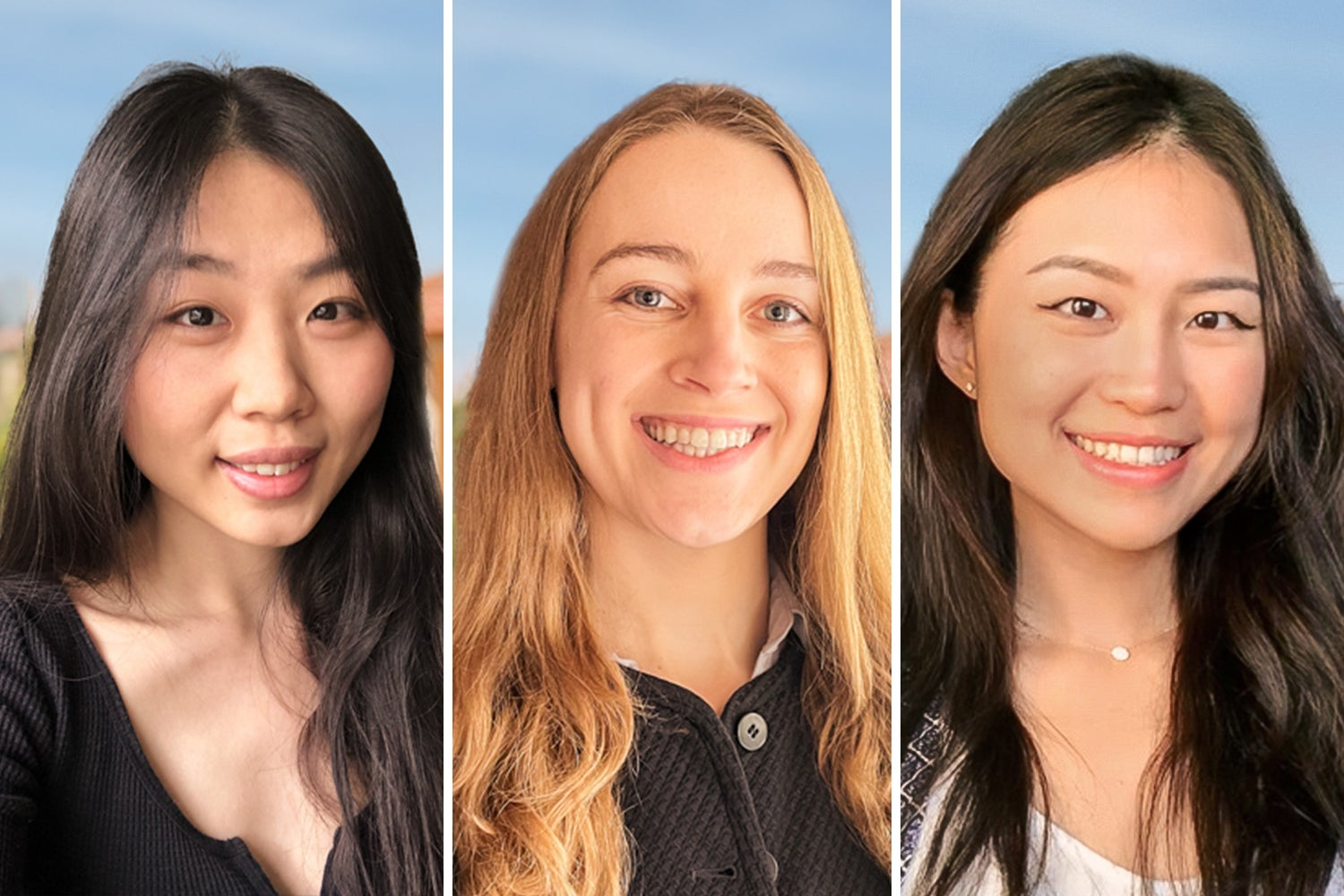 Joy Hsu, '20, who is pursuing a master's degree in computer science, Olivia Martin, '19, and Nancy Xu, '19